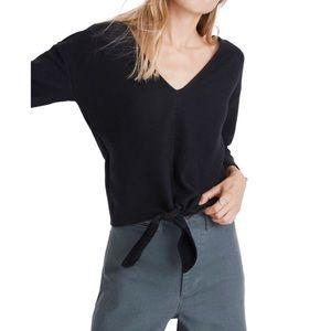 MADEWELL Texture & Thread Tie Front Top Black